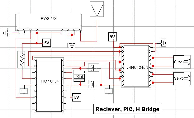 rf modem robotics project using pic16f84 microcontroller - schematic