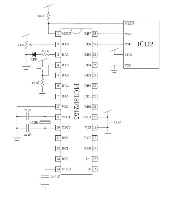 control a hobby servo using pic18f2455 microcontroller - schematic