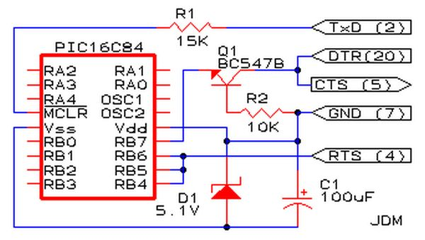 pic programmer using pic16f84 microcontroller - schematic