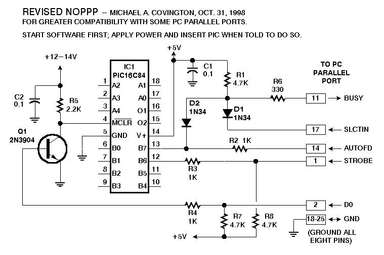 pic programmer using pic16f83 - schematic