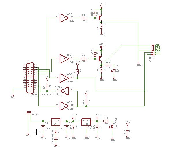 schaer programmer using pic12f629 microcontroller - schematic