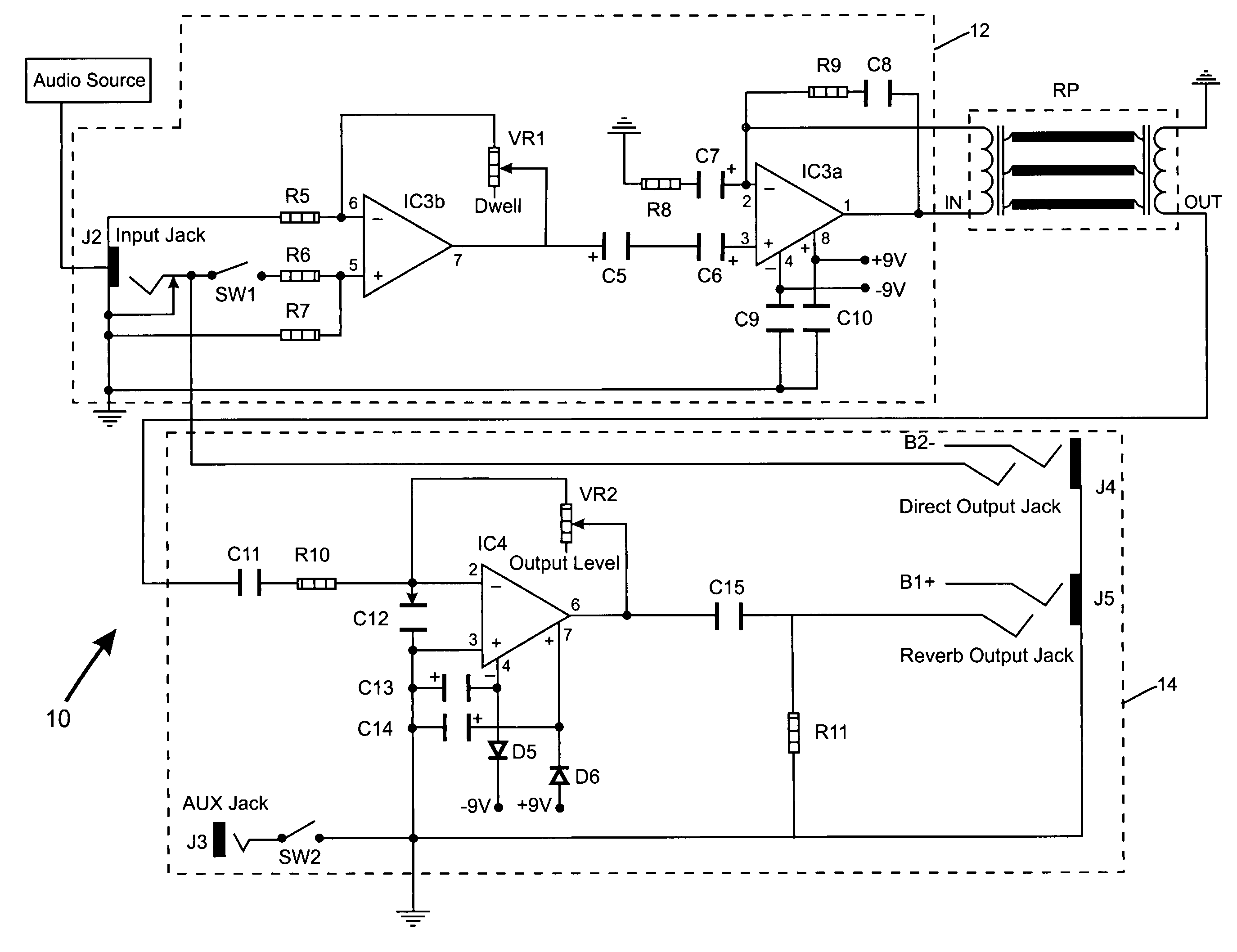 Electronic Circuit With Spring Reverberation Effect And