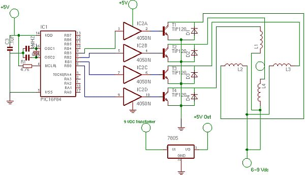 stepper motor controller using pic16f628a - schematic