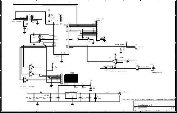 pic18f458 microcontroller based solar recorder - schematic