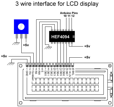 LCD 3 wires - schematic