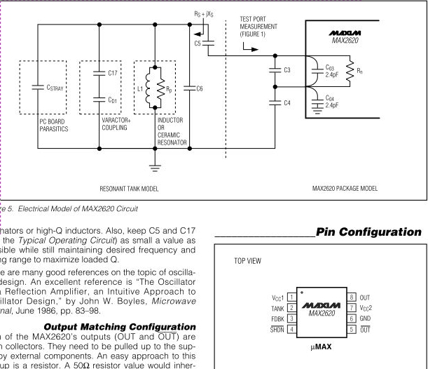 MAX2620 10mhz To 1050mhz Integrated Rf Oscillator With Buffered Outputs - schematic
