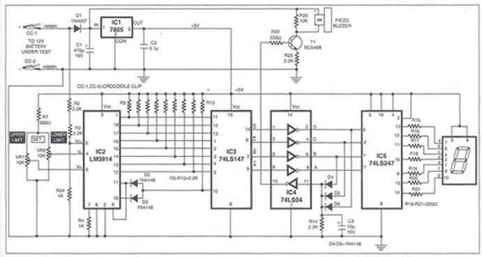 Charger for 12V lead acid battery - schematic