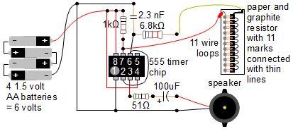 555 timer music instrument - schematic