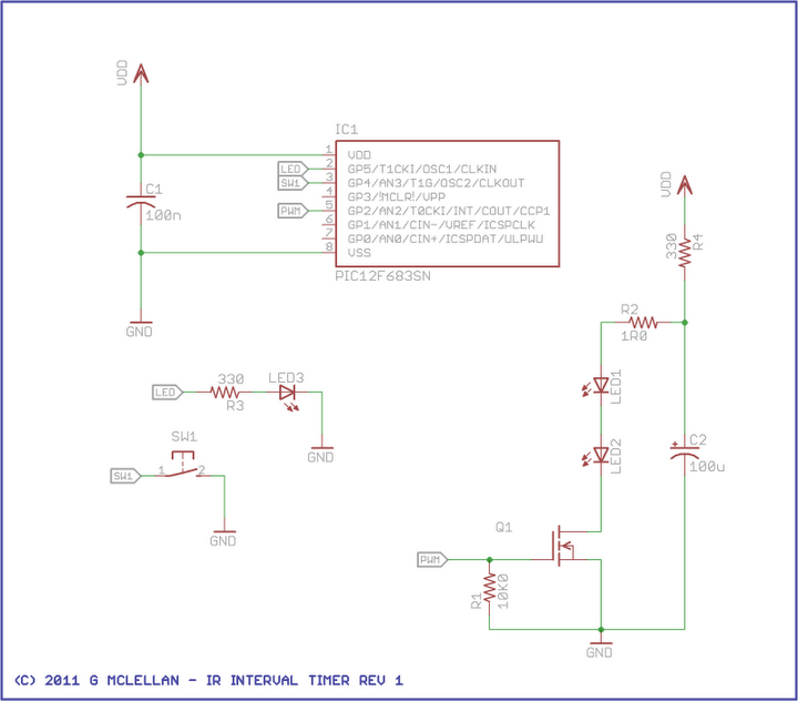 IR Interval Timer for Pentax DSLR Camera - schematic