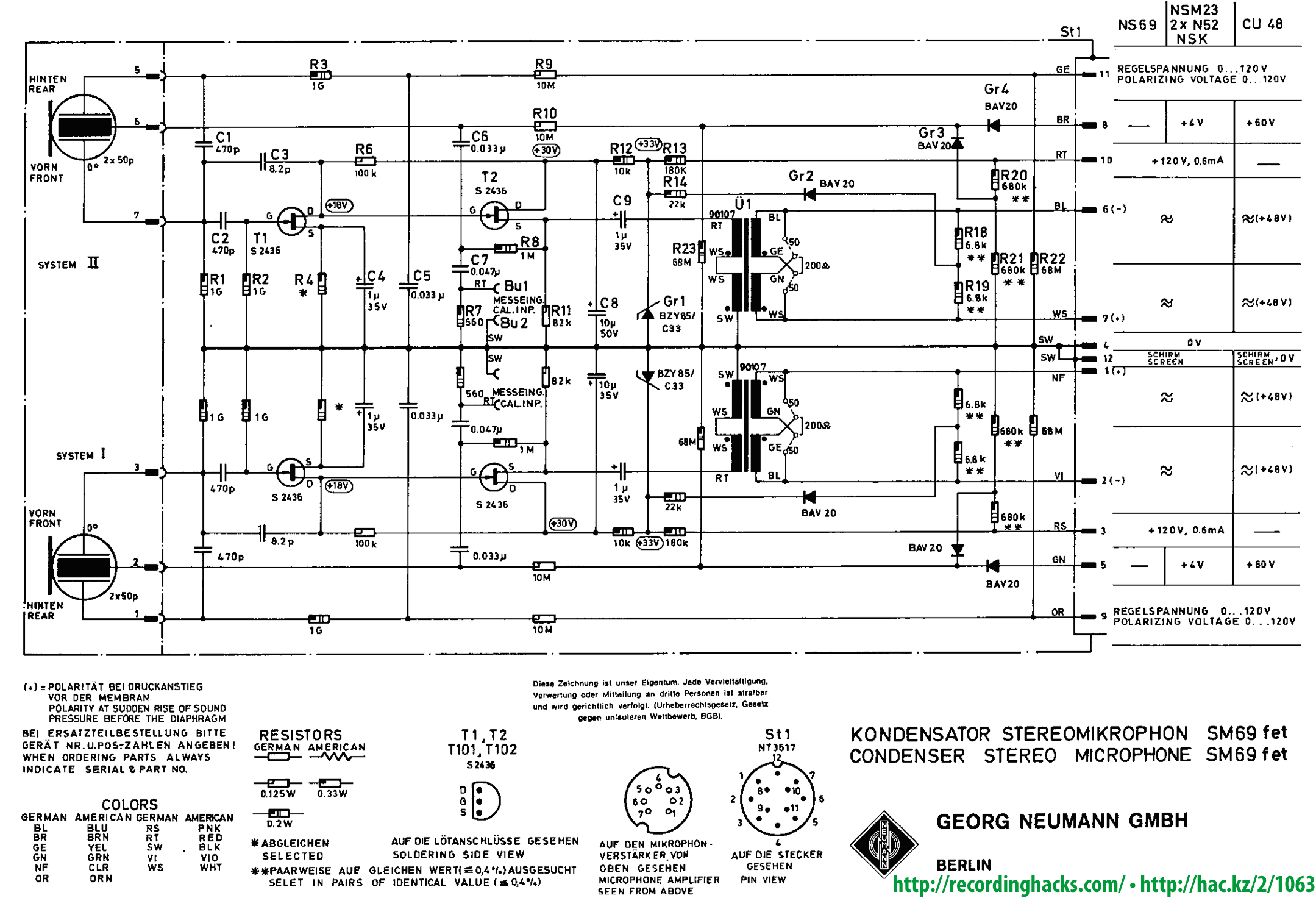 Circuits Microphone Neumann Sm 69 Fet L31339 Ultrasonic Circuit Page 2 Audio Nextgr Schematic