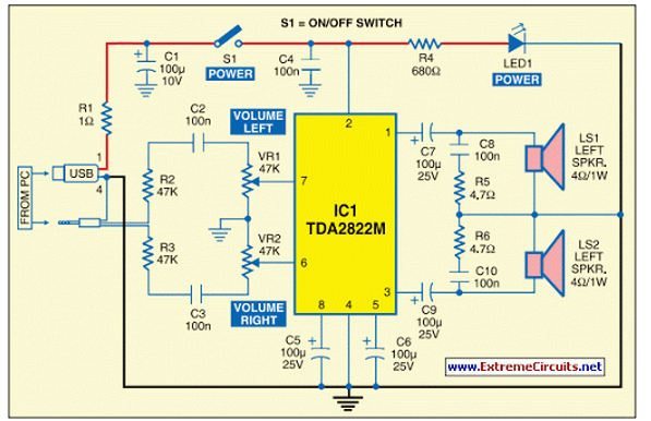USB Powered Audio Power Amplifier - schematic