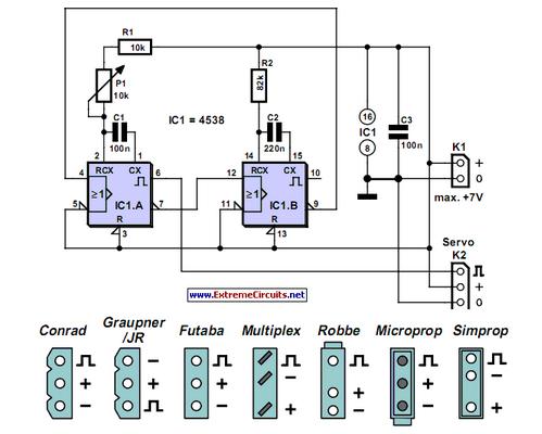 Servo Tester Using A 4538 - schematic
