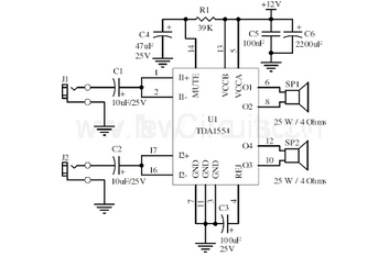 22W Stereo Amplifier Using TDA1554 - schematic
