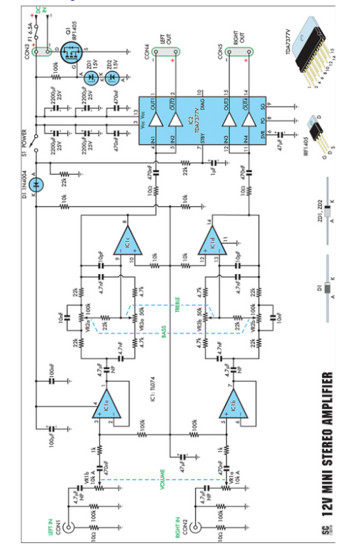 Compact High-Performance 12V 20W Stereo Amplifier - schematic