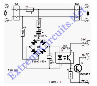 Mains Voltage Detector - schematic