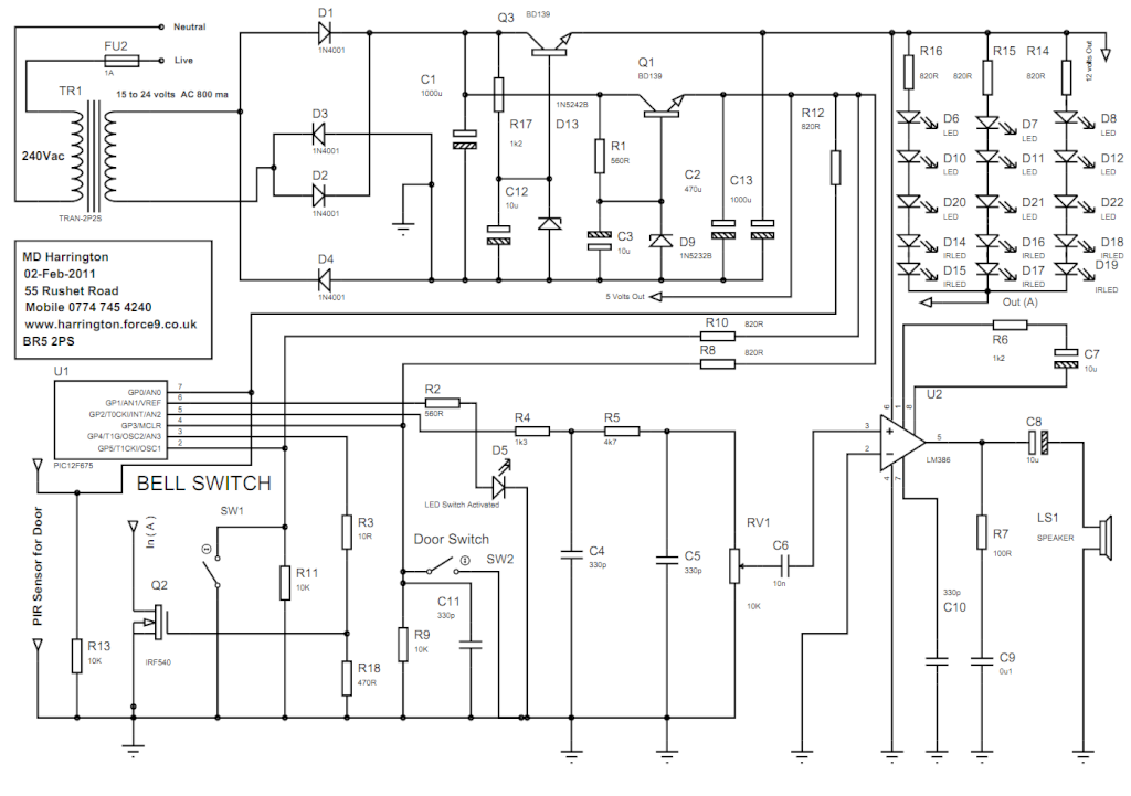 3 in one doorbell - schematic