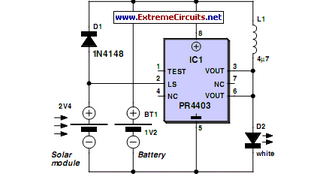 Solar Lamp Using PR4403 - schematic