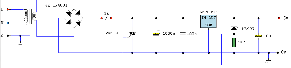 Logic PSU With Over-Voltage Protection - schematic