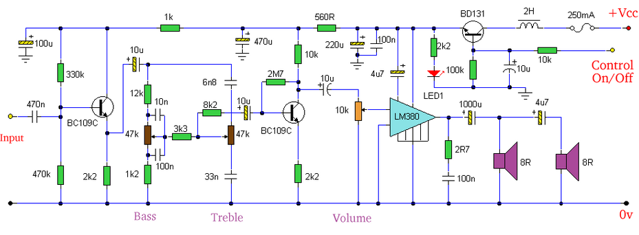 Amplifier with Tone Controls and Soft Switching - schematic