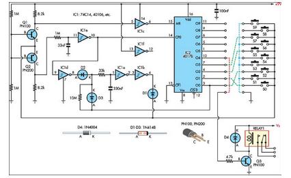Simple Combination Lock - schematic