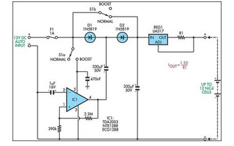 Simple Battery Charger Circuit Charges Upto 12 NiCD Cells - schematic