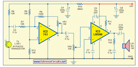 IR Music Transmitter and Receiver - schematic