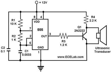 9v battery source astable 555 timer - schematic