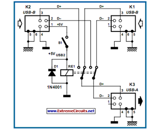 USB Switch For Printers - schematic