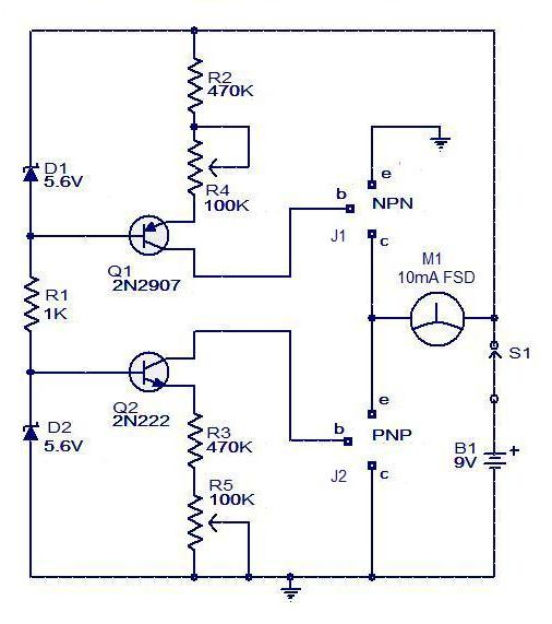 circuit transistor tester - schematic