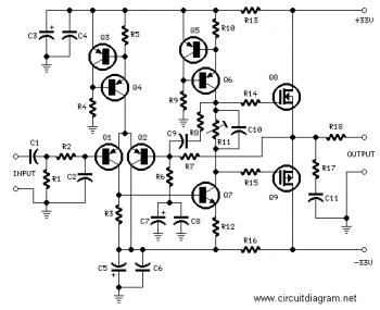 25W HiFi Audio Amplifier with MOSFET - schematic