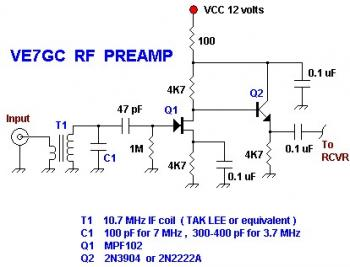 ve7gc popcorn rf preamplifier circuit - schematic