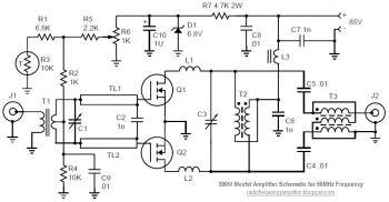 50mhz 300w mosfet amplifier circuit - schematic
