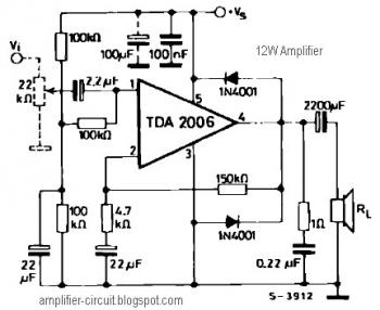 12W Audio Amplifier Circuit with TDA2006 - schematic