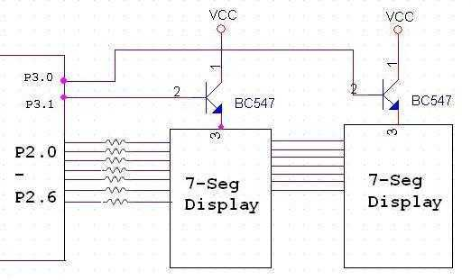 Interfacing seven segment to microcontroller - schematic