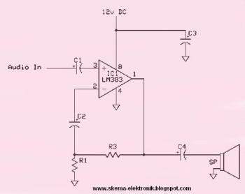 8W Amplifier Based on IC LM383 - schematic