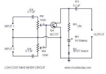 low cost mic mixer - schematic