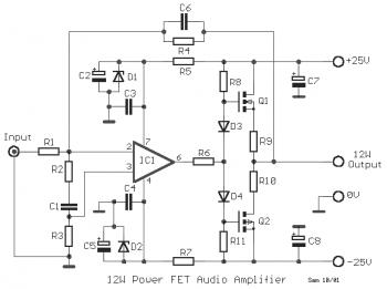 12w mosfet audio amplifier 2sk135    2sj50
