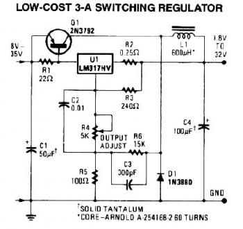3a switching regulator circuit - schematic