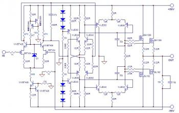 100W HiFi Power Amplifier with MOSFET - schematic