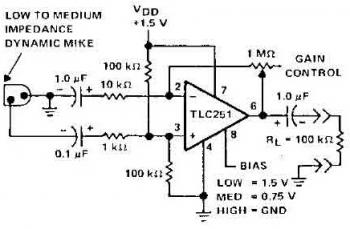 mic preamplifier circuit based tlc251 - schematic