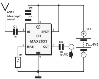 vhf rf preamp 100 175 mhz with max2633 - schematic