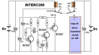 simple intercom circuit with - schematic