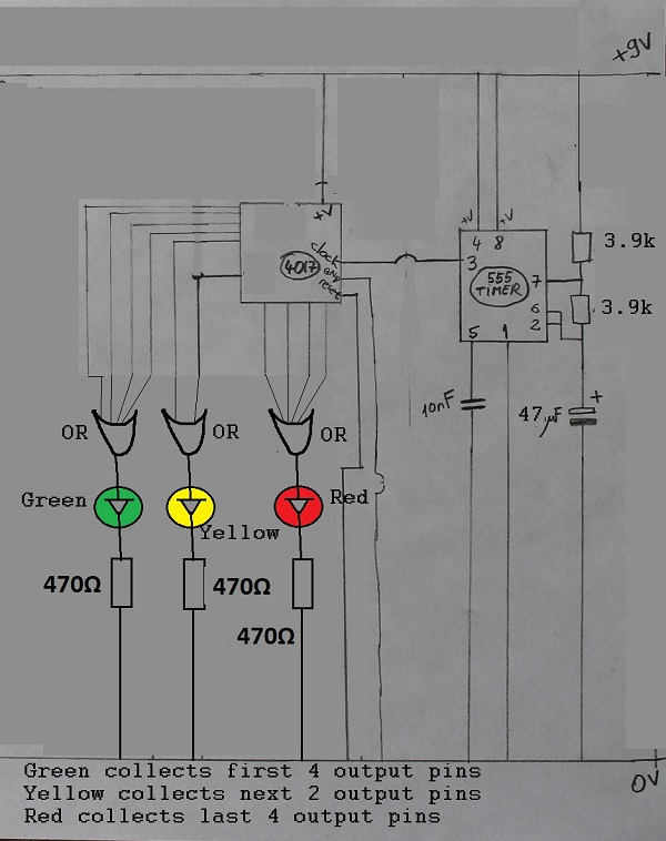 timer and 4017 decade counter traffic lights circuit - schematic