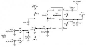 fm transmitter circuit with max2606 - schematic