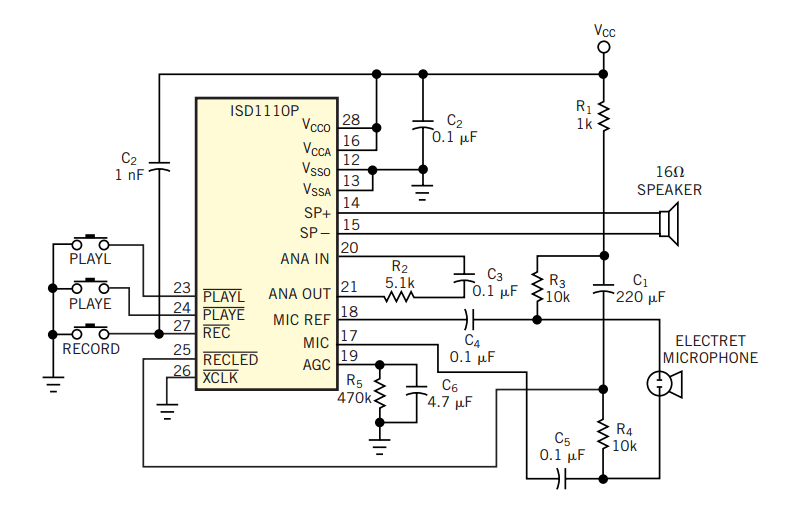Chip recorder customizes phone ringer - schematic