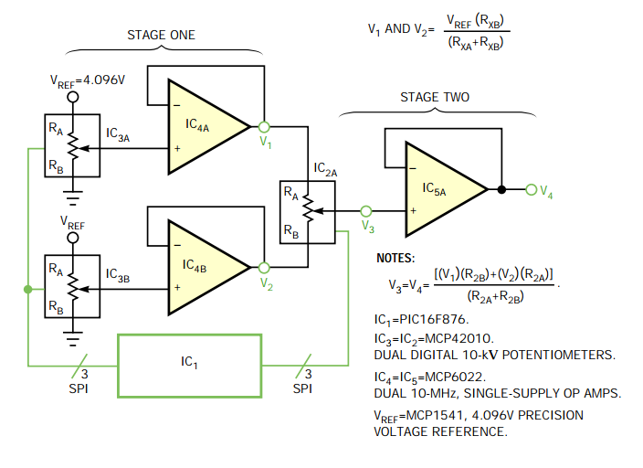16-bit adjustable reference uses 8-bit digital potentiometers - schematic