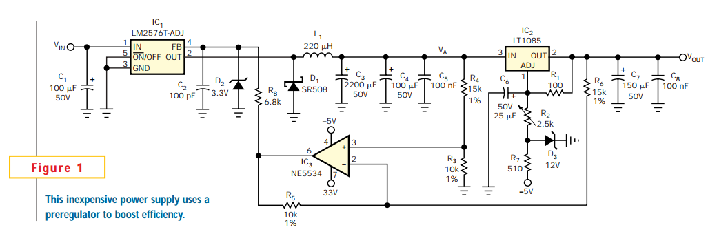 Servo loop improves linear-regulator efficiency - schematic