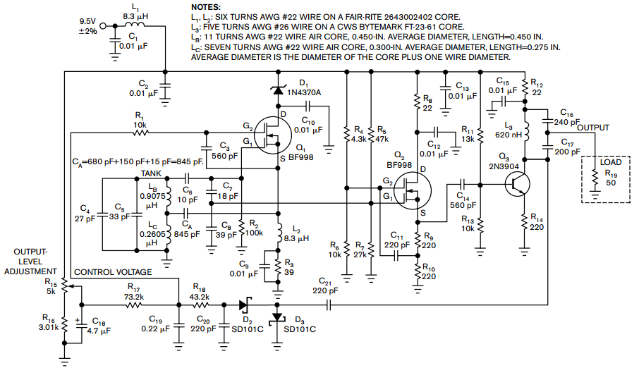 Hartley oscillator requires no coupled inductors - schematic