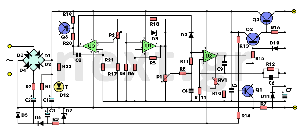 0-30V Lab Variable Power Supply - schematic
