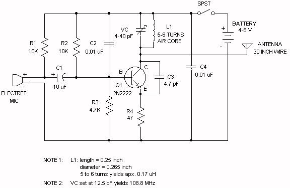 understanding fm transmitter circuit - schematic